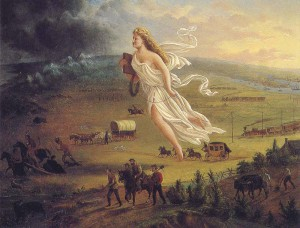Painting: Goddess Columbia floats overhead as white settlers make their way westward across the frontier towards the dark and threatening unknown lands with wildlife and Indians.
