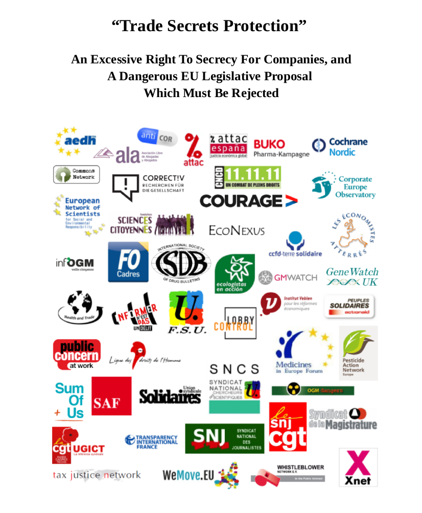 Letter to MEPs asking for the rejetcion of Trade Secrets EU Directive