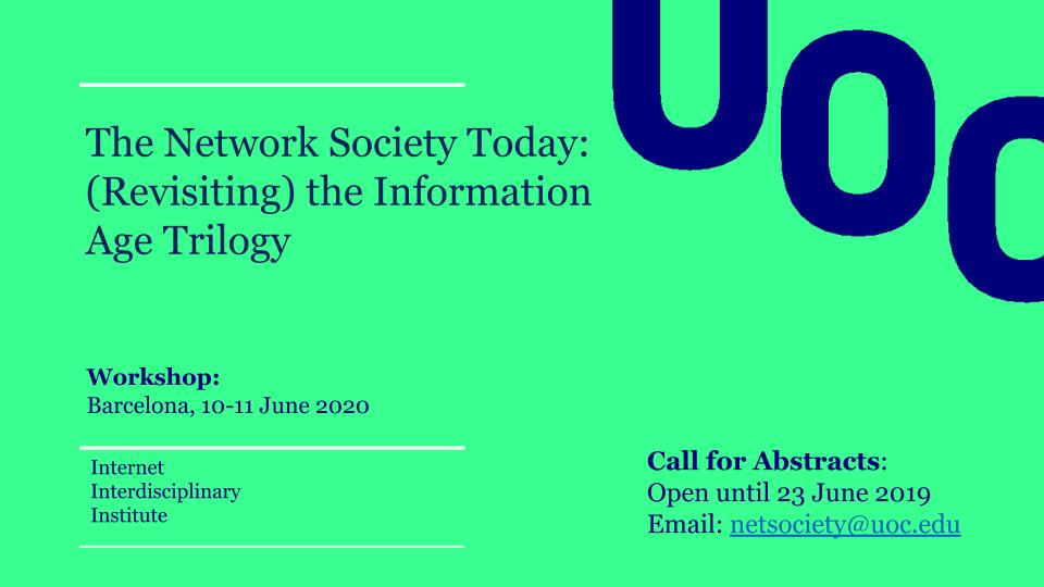 Call for abstracts: The Network Society Today